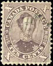 1859 Used Canada 10c VF Scott #17 HRH Prince Albert First Cents Issue Stamp