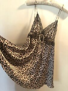 Victoria's Secret M Chemise Grey Lace Pink Leopard Satin Triangle Cup Silky Bow