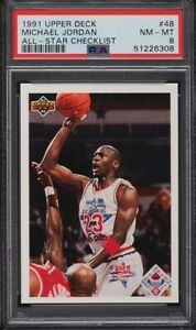 1991 Upper Deck All-Star Checklist Michael Jordan Chicago Bulls #48 PSA 8 NM-MT