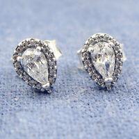 Authentic 100% 925 Sterling Silver Clear CZ Radiant Teardrops Stud Earrings