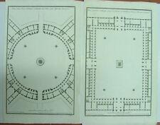de Neufforge 2 PLANS PLACE PUBLIQUE originale XVIII s.