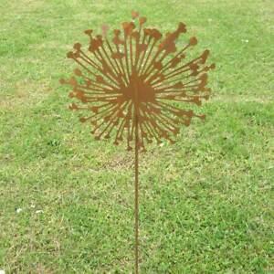 Deko Allium Metall Rost Optik Gartenstecker Pusteblume 80 cm