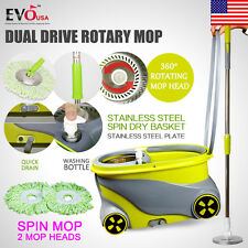 360 Degree Spinning Mop Wheels Stainless Steel Spin-Dry Bucket w/2 Mop Heads New