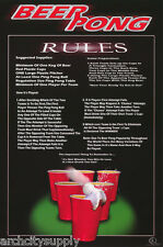 POSTER : COMICAL : BEER PONG RULES   FREE SHIPPING ! #3464 RP91 C