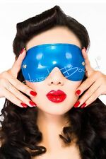 R0344 Latex Rubber Blindfold WESTWARD BOUND Fetish Wear Bondage PS BLUE Seconds