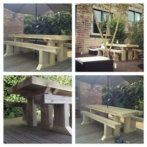 PREMIUM SANDED Solid Wooden Sleeper Table and Benches Garden Furniture Dining