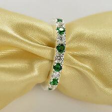 Fashion Woman Round Cut Emerald & White Sapphire 925 Silver Ring Size 6