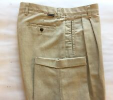 Dockers Men's Pleated Dress Pants Beige Linen  Cotton Blend 36 Relaxed