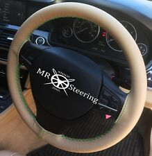 FOR JAGUAR X-TYPE 2001-09 BEIGE LEATHER STEERING WHEEL COVER GREEN DOUBLE STITCH