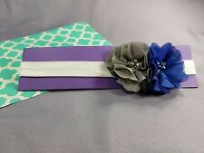 GrayBlue Floral Baby Headband by Kim's Design | Handmade in US | 14 Inches 3-6M