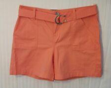 "Calvin Klein Size 6 Coral 100% Cotton Belted Shorts 4.5"" Inseam NWT"
