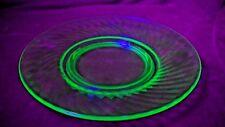 "Vaseline Glass Green Spiral Depression Glass Footed 8"" Plate"