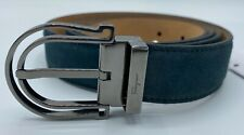 $380 Salvatore Ferragamo Men's Green Suede Belt Size US 46 Made in Italy