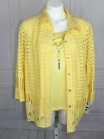 Womens NWT Alfred Dunner Petite PXL 2pc Set  Yellow Blouse & tank w/Necklace $64