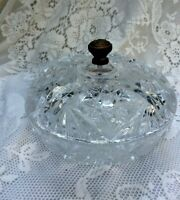 Round 2 Pc Clear Crystal Glass Candy Dish Bowl 8 In. w/ Bronze Top / Lid Falcon