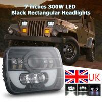"300W 7x6"" 5X7"" LED Projector Headlight Hi-Lo Beam Halo DRL For Jeep Cherokee NEW"
