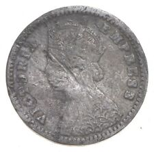 Roughly the Size of a Dime 1852 British India 2 Annas World Silver Coin *079