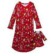 NEW Fleece Girls Christmas Nightgown Sz 5 + Red Doll Gown Winter Pajamas Pjs NWT