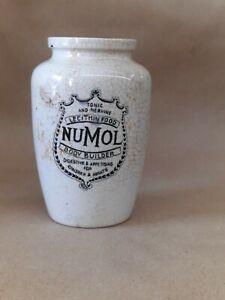 Crock JAR POT ironstone advertising English typography Numol bone marrow food