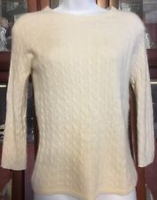 LORD & TAYLOR L/S IVORY PULLOVER CABLEKNIT 100% CASHMERE SWEATER - WASHABLE - S