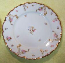 """OLD Elite  Limoges France SM Blue Pink Tan Floral 9 3/4"""" Dinner Plate Romantic"""