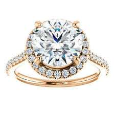 2.46Ct Diamond Solitaire Hallmarked 14K Rose Gold Bridal Engagement Ring Size 6