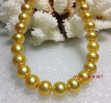 "AAAAA 18""10-11mm REAL NATURAL round south sea GOLDEN yellow pearl necklace 14K"