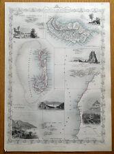 ATLANTIC ISLANDS, BERMUDA, MADEIRA, CANARIES, RAPKIN & TALLIS antique map c1850