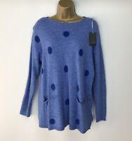 Jumper Long Sleeve Polka Dots Light Dark Blue Soft Pockets Size UK 14 16