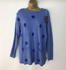Neues AngebotPullover Langarm Polka Dots Light dunkelblau weich Taschen Größe UK 14 16