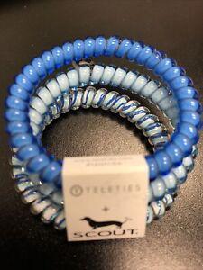 Teleties 3 Pack Small Hair Ties Serene Dion blues Ponytail Holder Bracelets NEW