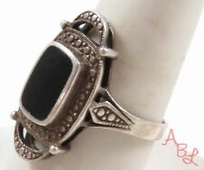 Sterling Silver Vintage 925 Solitaire Black Onyx Ring Sz 9.5 (6.8g) - 724314