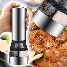 2 in 1 Kitchen Stainless Steel Portable Electric Salt & Pepper Mill Grinder New