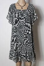 H&m Vestido gr. 36 negro-gris manga corta rodilla lang a-línea patrón chifón