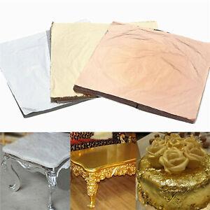 100X Gold Silver Bronze Leaf Foil Sheets Gilding Art Metallic transfer 14cm 10X