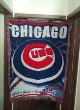 VTG CHICAGO CUBS BIG THROW BLANKET 80X57 Holy Cow Wrigley field MLB