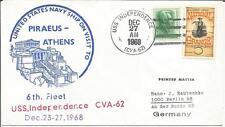 USS Independence CVA-62  6th Fleet US Navy Ship Piraeus Athens Greece 1968 Cover