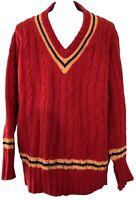 NEW & LINGWOOD MEN'S RED CASHMERE V-NECK SWEATER, L/XXL, $495