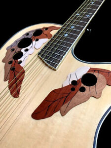 NATURAL 6 STRING ACOUSTIC ELECTRIC FLAME ROUND BACK GUITAR
