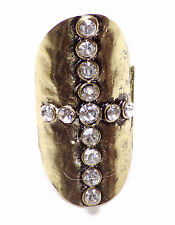 Armour Glamour Diamante Cross Ring on Antique Bronze  Sretchable M/L (CL1/ZX237)