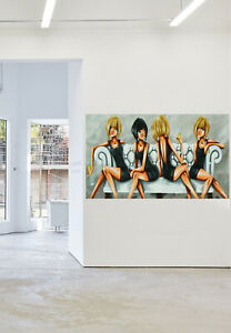 """Funky girls art painting Australia by Andy Baker limited print framed canvas 32"""""""