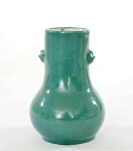 Old Chinese Teal Green Color Enamel Yixing ZISHA Pottery Vase Lion Ears