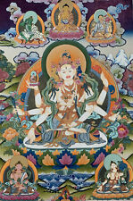 Hand-painted Vasundhara, the goddess of Abundance, Gold Thangka, Finest Art on C