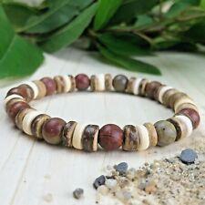 Bracelet Homme Femme Perles Naturelles Jaspe Picasso Cocotier Taille au choix