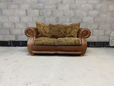 Vintage Tetrad Style Chesterfield Aged Leather & Fabric Club 2 Seater Sofa