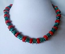Vintage Handcrafted Turquoise and Coral Rondelle Bead Sterling Silver Necklace