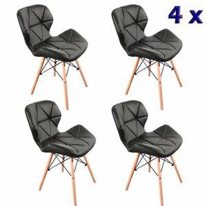 4x Esszimmerstühle Wohnzimmerstuhl Sitzfläche Holzbeine Polsterstuhl Schwarz