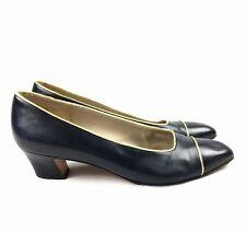 Salvatore Ferragamo Womens Navy Blue Gold Heels Size 6 B Low Round Toe Vintage