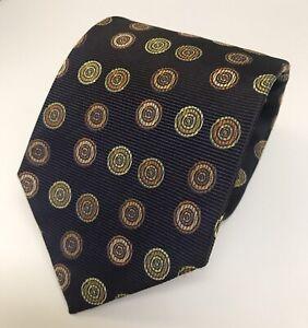 Paul Stuart 100% Twill Silk Navy Multi-Color Polka Dot Luxury Neck Tie