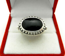 Vintage 925 Sterling Silver Black Onyx Unisex Mens Pinky Signet Ring size 6.25